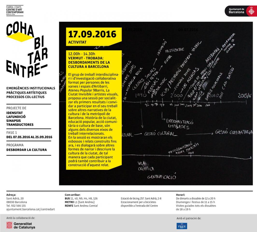 Vermut-trobada: Desbordaments de la Cultura  a Barcelona