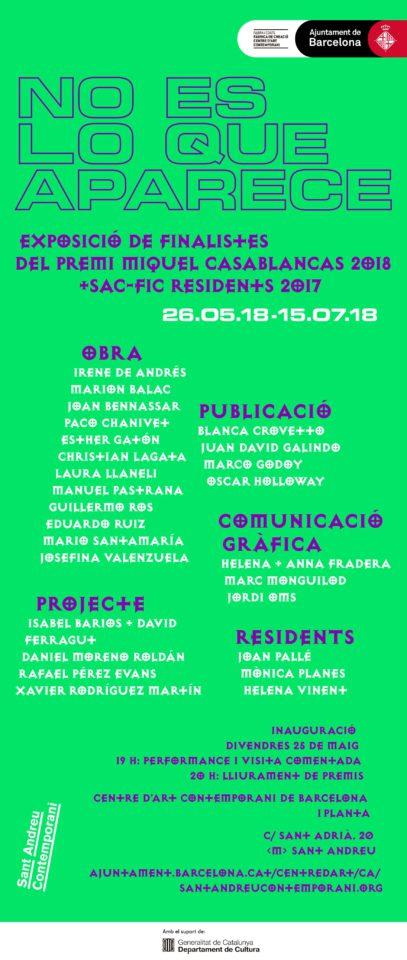 Lliurament de premis Concurs d'Arts Visuals Premi Miquel Casablancas 2018 + Inauguració de NO ES LO QUE APARECE